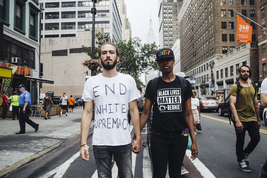 Black Lives Matter protesters march in the streets of New York City__USA_July 7_2016_0001